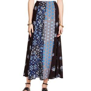 Free People Blue Amazing Technicolor Maxi Skirt